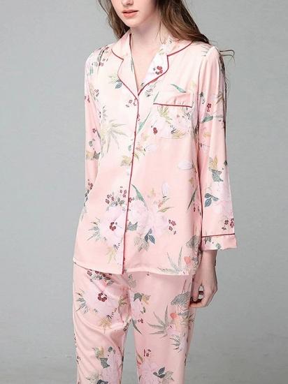 BMbridal Comfortable Women's Long Sleeve Ice silk Printed Pajamas Nightgown_2