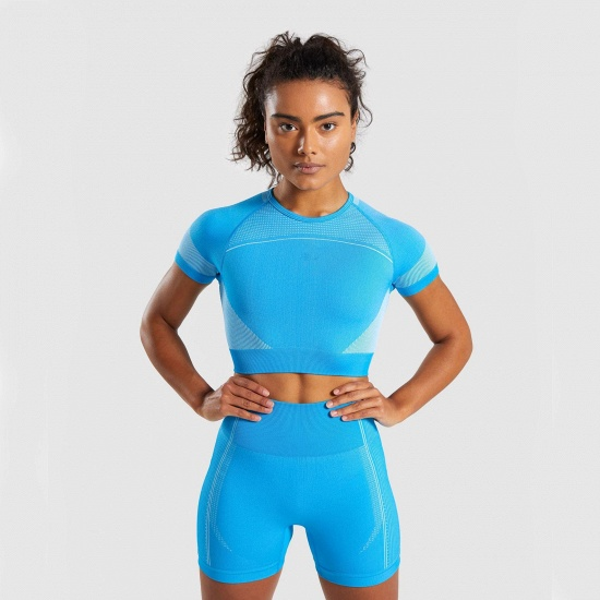 Sexy Women 2PCS Yoga Set Female Short Sleeves Top Fitness Shorts Running Gym Sports Clothes Suit_9