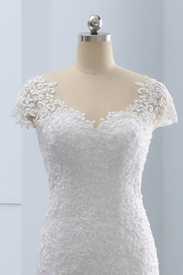 BMbridal Chic Jewel Mermaid Tulle Lace Wedding Dress Short-Sleeves Beadings Appliques Bridal Gowns On Sale_6
