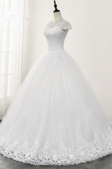 Chic Ball Gown Jewel White Tulle Lace Wedding Dress Short Sleeves Rhinestones Bridal Gowns Online_4