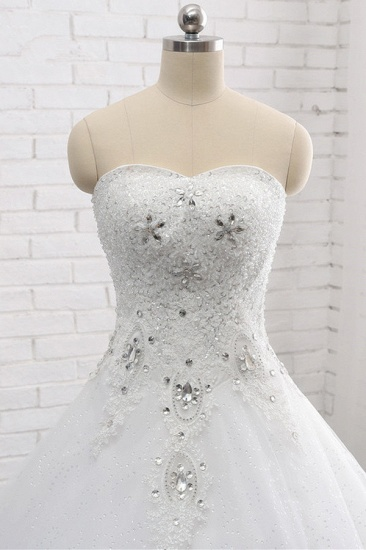 Affordable S-Line Sweetheart Tulle Rhinestones Wedding Dress Lace Appliques Sleeveless Bridal Gowns Online_5