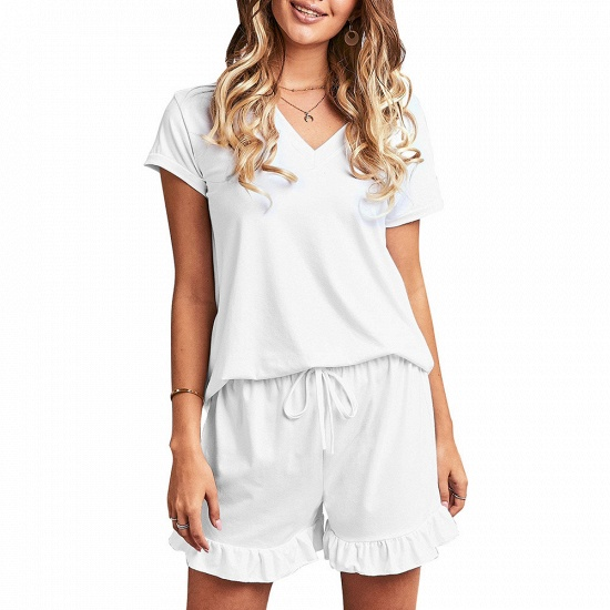 BMbridal Summer Homewear Two-Piece V Neck Comfortable Leisure Short Sleeved Pajamas_8