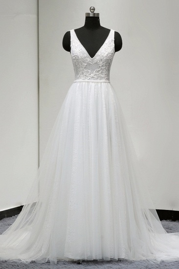 BMbridal Chic Straps V-Neck White Tulle Lace Wedding Dress Sleeveless Ruffles Bridal Gowns On Sale_1