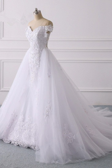 Elegant Off-the-Shoulder Tulle Lace Wedding Dress Sweetheart Appliques Beadings Sleeveless Bridal Gowns On Sale_4