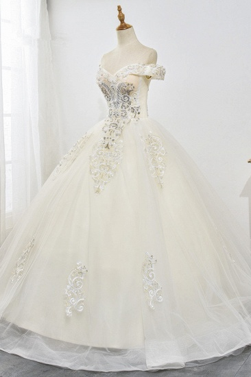 Gorgeous Off-the-Shoulder Champagne Tulle Wedding Dress Ball Gown Lace Appliques Sleeveless Bridal Gowns Online_4