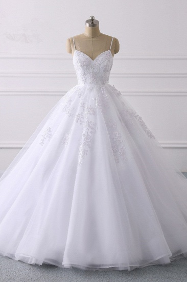 BMbridal Glamorous Spaghetti Straps V-Neck Tulle Wedding Dress Ball Gown Ruffles Appliques Bridal Gowns Online_1