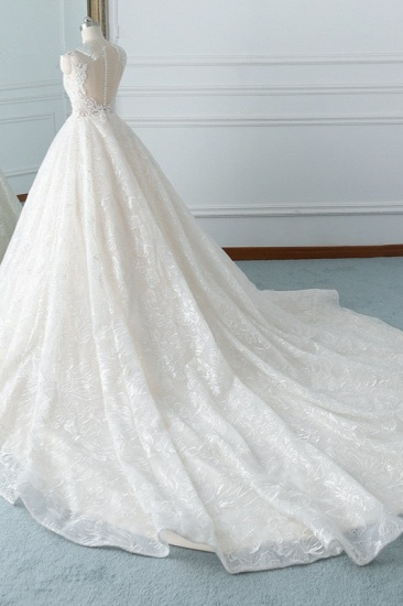 Elegant Jewel White Tulle Lace Wedding Dress Sleeveless Appliques A-Line Bridal Gowns Online_5