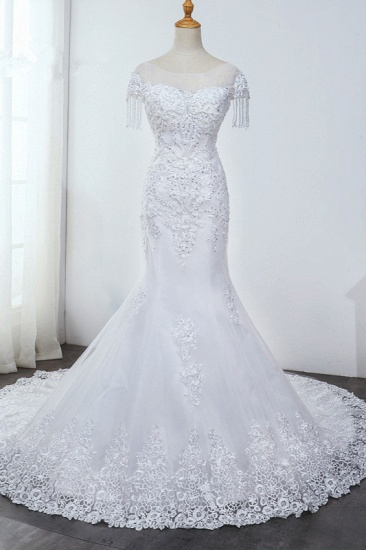 BMbridal Affordable Jewel Mermaid Tulle Lace Wedding Dress Sleeveless Appliques Beading Bridal Gowns with Tassels Online_1
