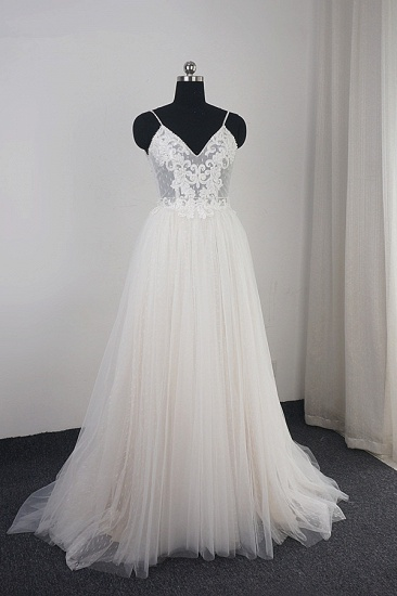 Affordable Spaghetti Straps Tulle Ruffle Wedding Dress V-Neck Lace Appliques Bridal Gowns On Sale