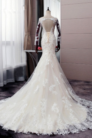 BMbridal Elegant Jewel Tulle Lace Mermaid Wedding Dress Long Sleeves Appliques Bridal Gowns with Beadings On Sale_3
