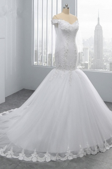 BMbridal Gorgeous Off-the-Shoulder Sweetheart Tulle Wedding Dress White Mermaid Lace Appliques Bridal Gowns Online_4