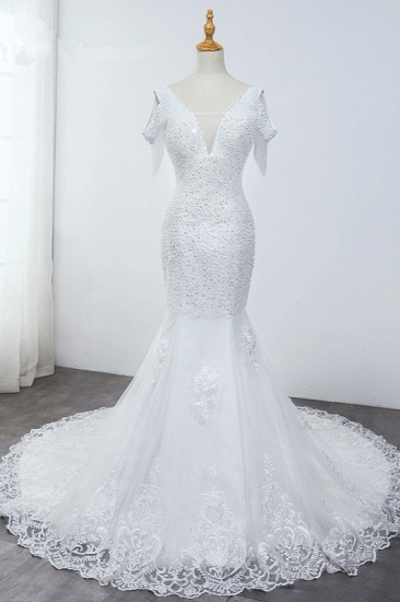 Sparkly Sequined V-Neck Cold-Shoulder White Wedding Dress White Mermaid Lace Appliques Bridal Gowns On Sale_1