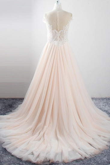 Elegant Jewel Tulle Lace Wedding Dress Short Sleeves Appliques Ruffles Bridal Gowns On Sale_3