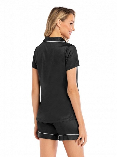 Sexy Fashion Women Summer Silk Sleepwear with Short Sleeves_2