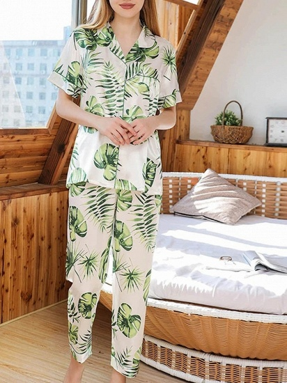 BMbridal Chic Two-pieces Imitation Silk Printed Pajamas Sets On Sale_4