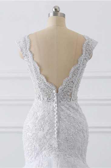 BMbridal Gorgeous V-Neck Tulle Lace Wedding Dress Sleeveless Mermaid Appliques Bridal Gowns On Sale_7