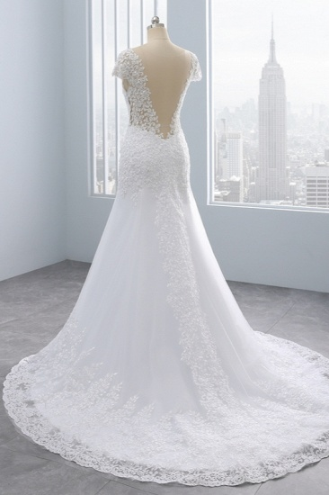 BMbridal Chic Jewel Mermaid Tulle Lace Wedding Dress Short-Sleeves Beadings Appliques Bridal Gowns On Sale_5