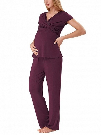 BMbridal Soft Short Sleeve Solid Color Maternity Breastfeeding Suit_7