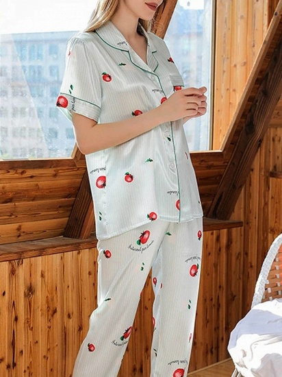 BMbridal Chic Two-pieces Imitation Silk Printed Pajamas Sets On Sale_3