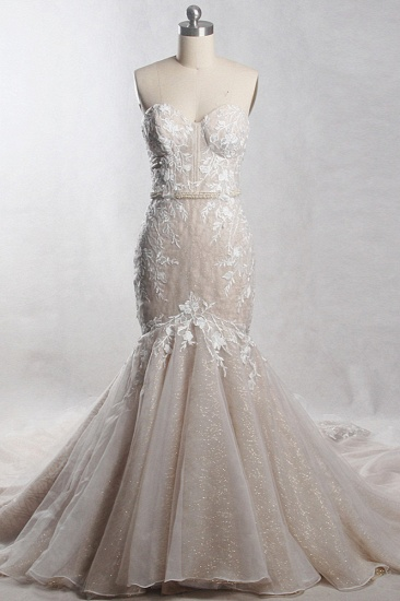 Chic Strapless Tulle Sequins Mermaid Wedding Dress Sleeveless Appliques Beadings Bridal Gowns On Sale_1