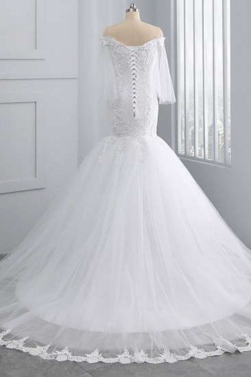 BMbridal Gorgeous Off-the-Shoulder Sweetheart Tulle Wedding Dress White Mermaid Lace Appliques Bridal Gowns Online_3