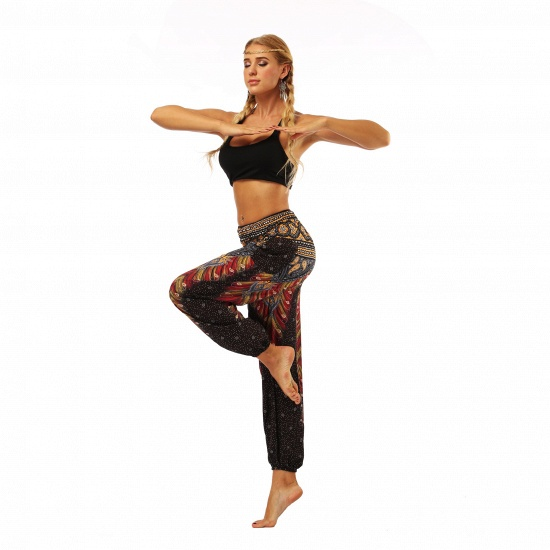 BMbridal Newest Flora Printed Designed Latern Pockets Women Yoga Pants Outdoor Indoor Gym Sports Exercises Women Lose Athletic Trousers_5