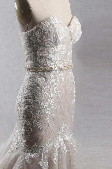 Chic Strapless Tulle Sequins Mermaid Wedding Dress Sleeveless Appliques Beadings Bridal Gowns On Sale_4
