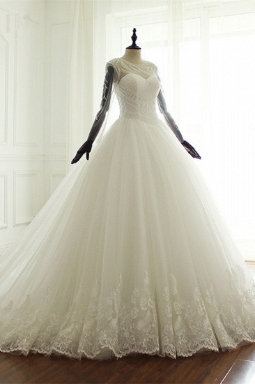 BMbridal Stylish Jewel Long Sleeves Tulle Wedding Dress Pearls Lace Appliques Bridal Gown with Crystals On Sale_4