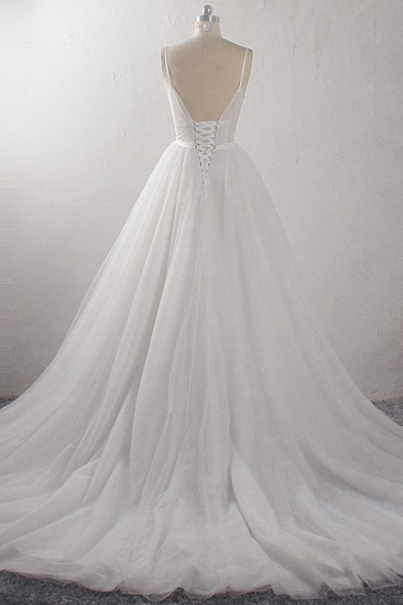 BMbridal Sexy A-Line Spaghetti Straps Tulle Wedding Dress Deep-V-Neck Appliques Sleeveless Bridal Gowns Online_3