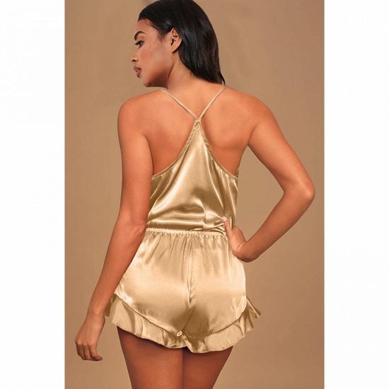 BMbridal Sexy Silk Pajamas Set Cami Shorts Spaghetti Straps Sleeveless Sleepwear Loungewear Two Piece Pajamas Sets_4