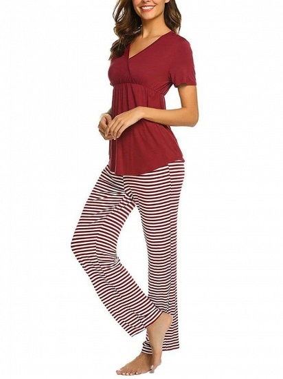Fashion Burgundy Casual Maternity Suit with Short Sleeves_5