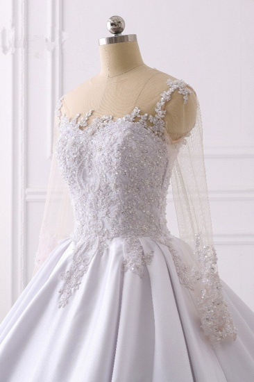 Glamorous Ball Gown Jewel Satin Tulle Wedding Dress Long Sleeves Ruffles Lace Bridal Gowns Online_6