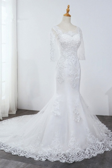 BMbridal Elegant Jewel 3/4 Sleeves Mermaid White Wedding Dress Tulle Lace Appliques Beadings Bridal Gowns On Sale_5