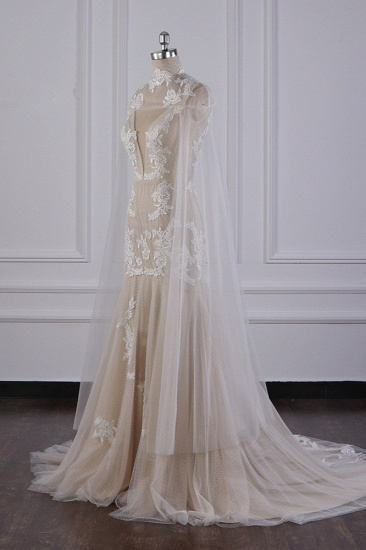 Chic High-Neck Tulle Champagne Wedding Dress Mermaid Sleeveless Appliques Bridal Gowns Online_4
