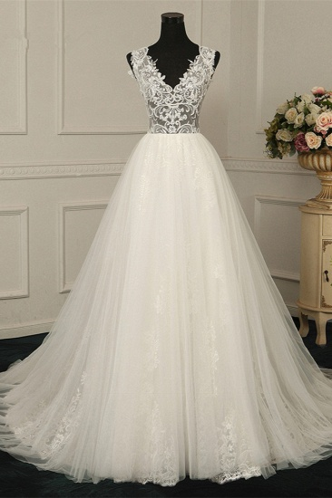 Sexy V-Neck Sleeveless Tulle Wedding Dress See Through Top Appliques Bridal Gowns On Sale