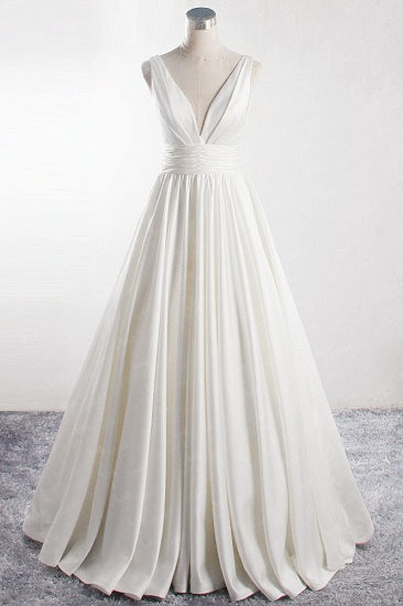 Affordable V-neck Satin White Wedding Dress Sleeveless Ruffles Bridal Gowns On Sale