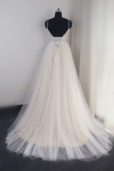 BMbridal Affordable Spaghetti Straps Tulle Ruffle Wedding Dress V-Neck Lace Appliques Bridal Gowns On Sale_3