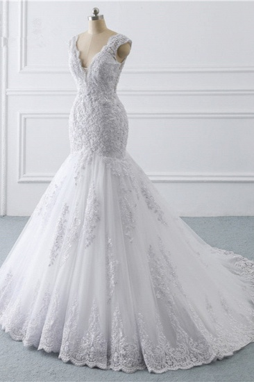 BMbridal Gorgeous V-Neck Tulle Lace Wedding Dress Sleeveless Mermaid Appliques Bridal Gowns On Sale_4