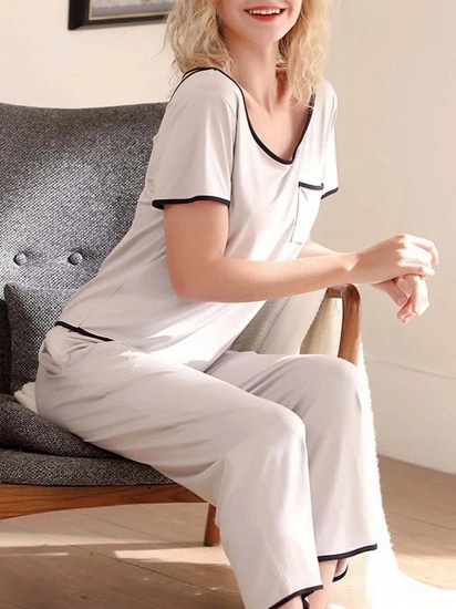 BMbridal Casual Two-piece Modal Pajamas Set with Short-Sleeves_3