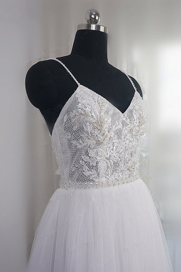 Elegant Spaghetti Straps Tulle Lace Wedding Dress V-Neck Appliques See Through Top Bridal Gowns_6