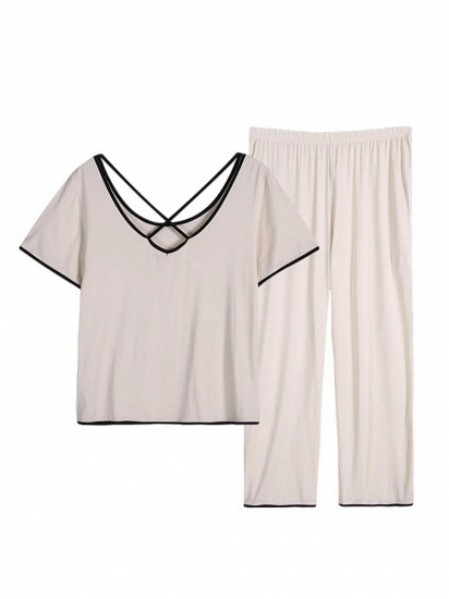 BMbridal Casual Two-piece Modal Pajamas Set with Short-Sleeves_2