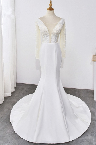BMbridal Simple Satin Mermaid Jewel Wedding Dress Tulle Lace Long Sleeves Bridal Gowns On Sale_1