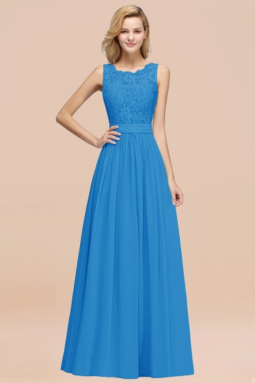 Elegant Chiffon Lace Scalloped Sleeveless Ruffle Bridesmaid Dresses_25