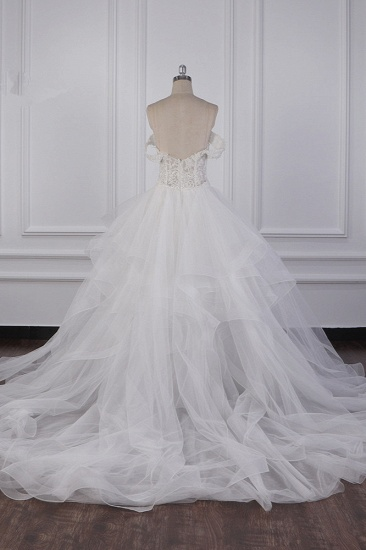 BMbridal Stylish Off-the-Shoulder Tulle Lace Wedding Dress Strapless Appliques Ruffles Beading Bridal Gowns On Sale_3
