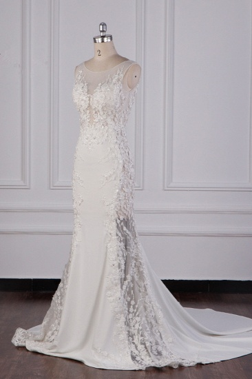 Glamorous Jewel Tulle Lace Wedding Dress Sleeveless Appliques Beadings Bridal Gowns Online_3