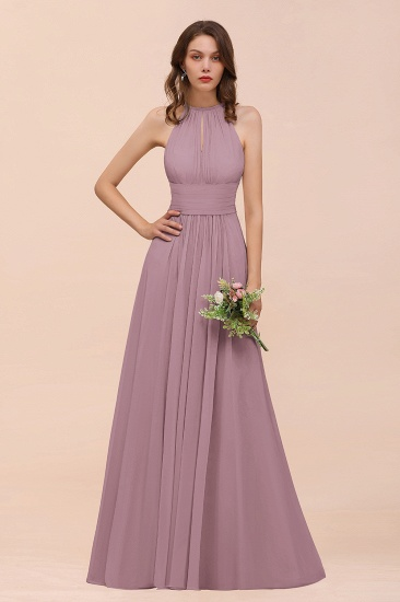 Elegant Chiffon Jewel Ruffle Champagne Affordable Bridesmaid Dress Online_43