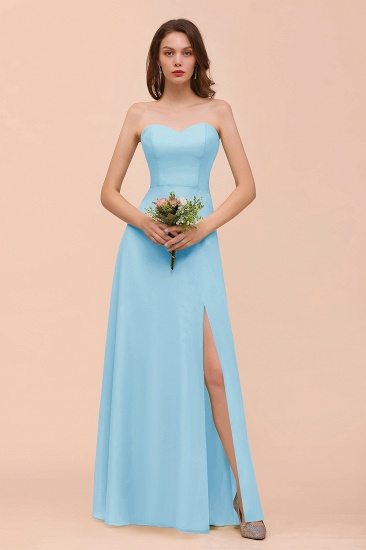 BMbridal Affordable Strapless Front Slit Long Dusty Sage Bridesmaid Dress_23
