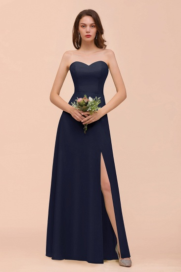BMbridal Affordable Strapless Front Slit Long Dusty Sage Bridesmaid Dress_28