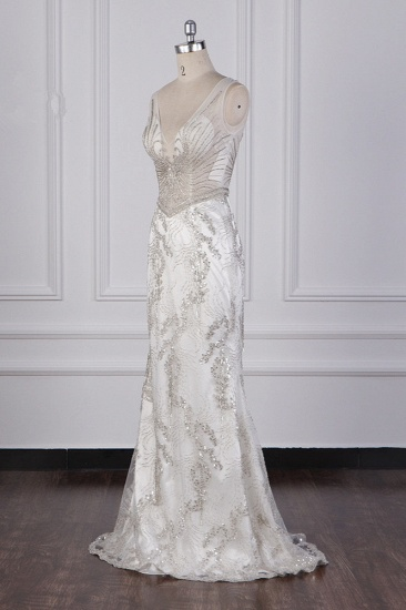 BMbridal Gorgeous Mermaid V-Neck Tulle Wedding Dress Sequined Bedaings Sleeveless Bridal Gowns On Sale_4