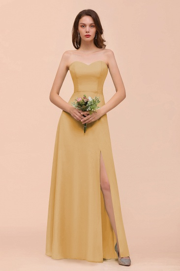 BMbridal Affordable Strapless Front Slit Long Dusty Sage Bridesmaid Dress_13